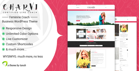 charvi coach consulting feminine business wordpress theme -