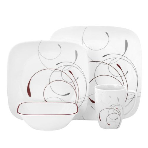 Corelle Square 16-Piece Dinnerware Set, Splendor, Service for 4