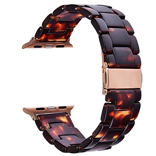 "V-Moro Apple Watch Band 38mm Women – Fashion Resin iWatch Band Bracelet Metal Stainless Steel Rose Gold Buckle for Apple Watch Series 3 Series 2 Series 1 (38mm(5""-7.67""), Tortoise-tone)"