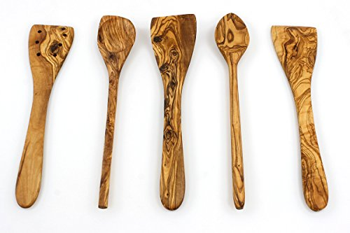 Tramanto Olive Wood Spatulas and Spoons Cooking Utensil Set, 12 inches – Corner Spoon, Round Spoon, Curved Spatula, Flat Spatula and Slotted Spatula