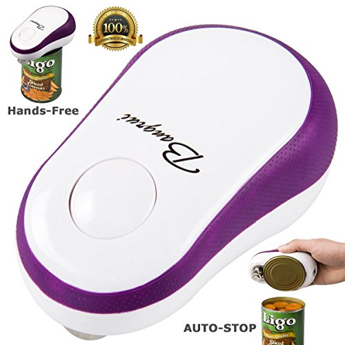 Bangrui Smooth Edge Electric Can Opener–One Button Start & Auto-Stop(Purple)