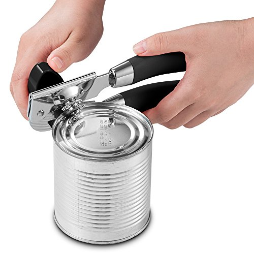 Can Opener, RIVERSONG Stainless Steel Manual Can Opener, Professional Heavy Duty Ergonomic Anti-slip Handles and Easy Turn Knob with Safety Smooth Edge No Sharp Cuts (Black)