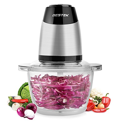 BESTEK MG14 Electric Food Chopper for Meat, Vegetables, Fruit and Nuts with 5-Cup Glass Bowl, 300W Stainless Steel Motor Unit and High/Low Speed Choice