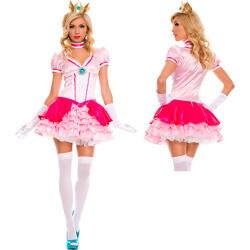 Womens Peachy Princess Super Mario Bros Costume