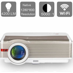 EUG 4200 Lumens Android LED LCD Video Projector WXGA High Definition 1080p 720p Wifi Home Theater Proyectors Wireless Mirror Smartphone iOS iPhone, Multimedia HDMI USB VGA for Games TV Outdoor Movie