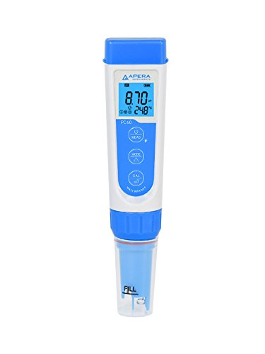Apera Instruments PC60 Premium 5-in-1 Waterproof pH/Conductivity/TDS/Salinity/Temp. Multi-Parameter Pocket Tester, Replaceable Probe