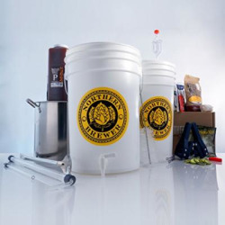 Brew. Share. Enjoy. Homebrew 5 Gallon Beer Brewing Starter Recipe Kit and Brew Kettle (Chinook IPA)