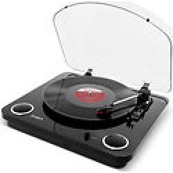 ion audio max lp conversion turntable with stereo speakers -