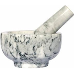 Kojà Home White Marble Mortar & Pestle Natural Stone Grinder for Spices, Seasonings, Pastes, Pestos and Guacamole | Attractive Gift | Stays Cool | Easy Clean up | Fully Guaranteed