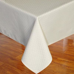 Eforcurtain Heavy Duty Plain Oblong Table Cover Polyester Waffle Tablecloth Stain Resistant /Spill-proof /Waterproof for Parties, Light Beige, 60-inch By 120-inch