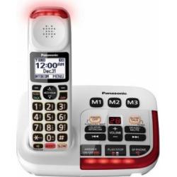 Panasonic KX-TGM420W Amplified Cordless Phone with Digital Answering Machine, 1 Handset , White