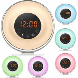 Night Light Alarm Clock with FM Radio & Snooze Function For Heavy Sleepers 7 Colors Changing Used for Mood Light
