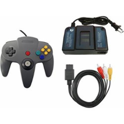 N64 Parts Bundle – Controller, Power Adapter, and AV Cable – by Mars Devices