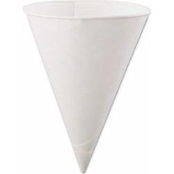 Rolled-Rim Paper Cone Cups, 6oz, White, 200/Bag, 25 Bags/Carton per CT