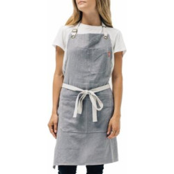 Linen Kitchen Apron by Abbot Fjord – Mens and Womens Linen Bib Apron – Adjustable with Pockets – Inspired by Professional Chefs (Grey)
