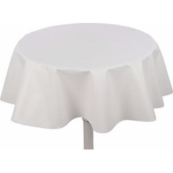 "Yourtablecloth Heavy Duty Flannel Backed Round Vinyl Tablecloth – 6 Gauge Thickness, Indoor and Outdoor & Easy to Clean 60"" White"