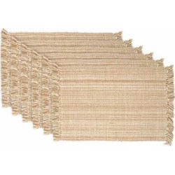 DII Tonal Fringe Placemat, Set of 6, Variegated Taupe – Perfect for Fall, Thanksgiving, Dinner Parties, Weddings, and Everyday Use
