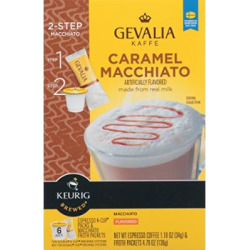 Gevalia Caramel Macchiato Espresso Coffee with Froth Packets, K-Cup Pods, 6 Count (Pack of 6)