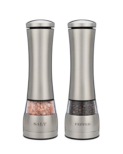 Electric Salt and Pepper Grinder Set of Two. Attractive Laser Engraved Stainless Steel with LED Light, Battery Operated, Adjustable Coarseness Ceramic Grinder Mill, Electric Salt and Pepper Shakers.