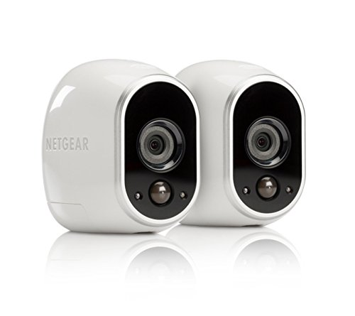 Arlo Security System by NETGEAR – 2 Wire-Free HD Cameras, Indoor/Outdoor, Night Vision (VMS3230C) with Extra Outdoor Mount (VMA1000) – New Version, Works with Alexa