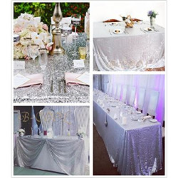 b cool 90x132 rectangle silver sequin tablecloth sequin overlay glitter -
