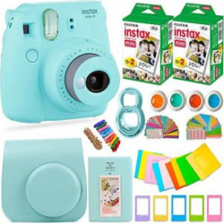 Fujifilm Instax Mini 9 Instant Camera + Fuji Instax Film (40 Sheets) + Accessories Bundle – Carrying Case, Color Filters, 2 Photo Albums, Assorted Frames, Selfie Lens + MORE (Ice Blue)