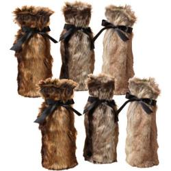 Gerson Company 12.6 in. Faux Fur Wine Bottle Covers – Set of 6 – 2303340EC
