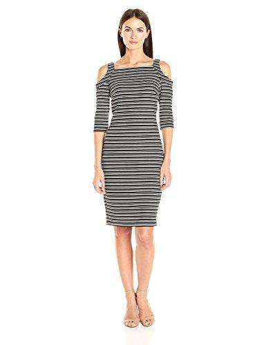 Gabby Skye Women's 3/4 Sleeved Cold Shoulder Striped Sheath Dress, Black/Ivory, 4