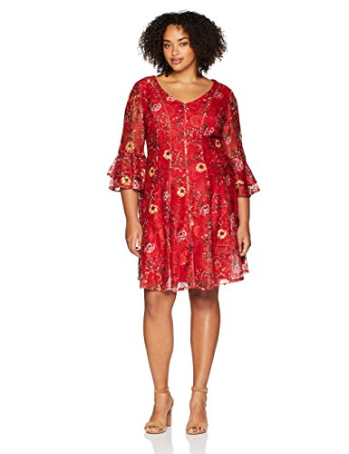 Gabby Skye Women's Plus Size Red Printed Allover Lace Dress, Red/Multi, 22W