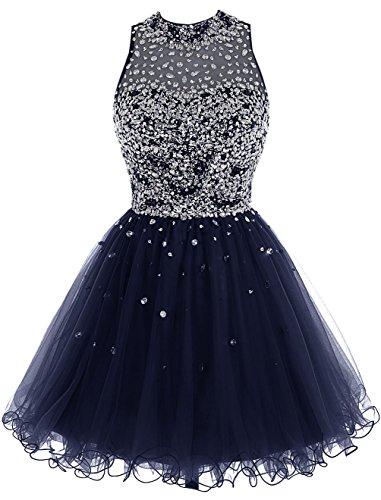 Bbonlinedress Short Tulle Beading Homecoming Dress Prom Gown Dark Navy 4