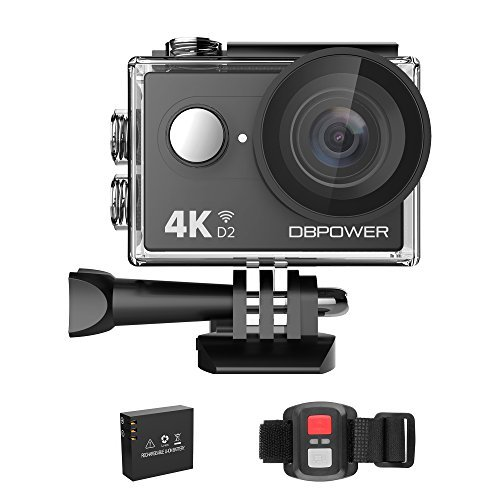 DBPOWER 4K Action Camera 12MP Ultra HD Waterproof Sports Cam with Built-in WiFi 170 Degree Wide Angle Lens 2 Inch LCD Screen Plus 1050mAh Rechargeable Battery (Camera only)