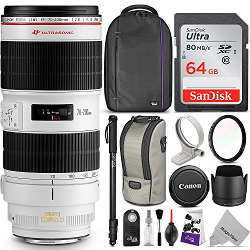Canon EF 70-200mm f/2.8L IS II USM Telephoto Zoom Lens w/Advanced Photo and Travel Bundle – Includes: Altura Photo Backpack, Monopod, UV Protector, SanDisk 64GB C10 SD Card