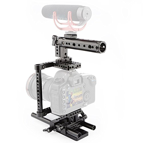 CAMVATE Camera Cage Rig Top Handle Tripod Mount Plate for Canon Nikon Sony Panasonnic(Black)