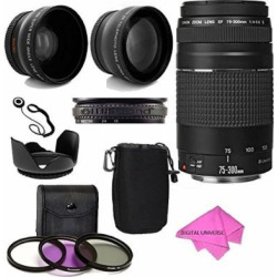Canon EF 75-300mm f/4-5.6 III Telephoto Zoom Lens Kit with 2X Telephoto Lens, HD Wide Angle Lens and Accessories (8 Pieces)