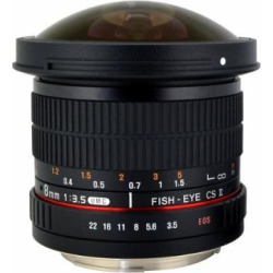 Rokinon HD8M-C 8mm f/3.5 HD Fisheye Lens with Removeable Hood for Canon DSLR 8-8mm, Fixed-Non-Zoom Lens