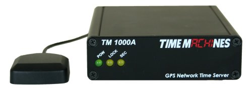 TimeMachines, NTP Network Time Server with GPS, TM1000A, A GPS Antenna maintains current time broadcast by U.S. Satellites