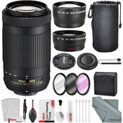 Nikon AF-P DX NIKKOR 70-300mm f/4.5-6.3G ED Lens W/ Deluxe Accessory Bundle, …