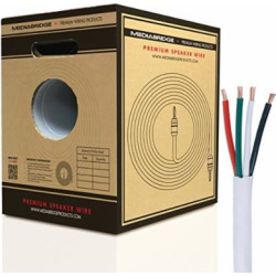Mediabridge 12AWG 4-Conductor Speaker Wire w/ Convenient Pull-Out Box (200 Feet, White) – 99.9% Oxygen Free Copper – ETL Listed & CL2 Rated for In-Wall Use (Part# SW-12X4-200-WH )