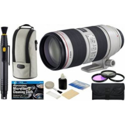Canon EF 70-200mm f/2.8L IS II USM Zoom Telephoto Lens with USA Warranty + Filter Kit + Accessory Bundle