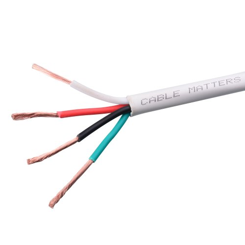 Cable Matters 14 AWG CL2 In Wall Rated Oxygen-Free Bare Copper 4 Conductor Speaker Wire (Speaker Cable) 250 Feet
