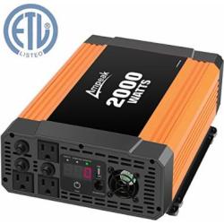 Ampeak 2000W Power Inverter 12V DC to 110V AC Car Converter 3 AC Outlets 2.1A USB Inverter