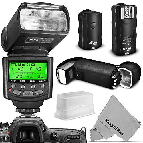 Altura Photo Professional Flash Kit for NIKON DSLR – Includes: I-TTL Flash (AP-N1001), Wireless Flash Trigger Set and Accessories