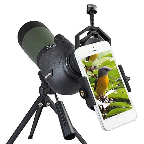 Gosky 20-60 X 80 Porro Prism Spotting Scope- Waterproof Scope for Bird watching Target Shooting Archery Range Outdoor Activities -with Tripod & Digiscoping Adapter