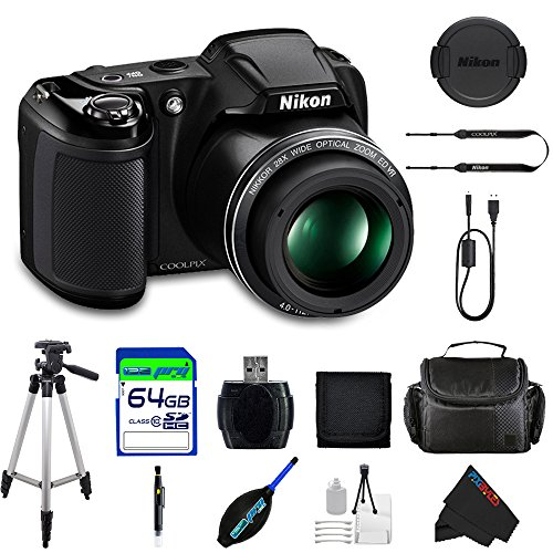 Nikon COOLPIX L340 Digital Camera (Black) + Pixi-Advanced 64GB Accessory Bundle