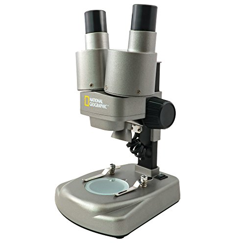 National Geographic Dual Microscope Complete Science Kit Includes Set of Prepared Slides, Lab Shrimp Experiment and Much More (Silver)