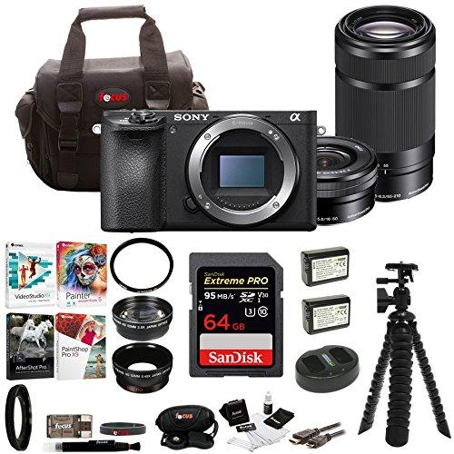 Sony a6500 Mirrorless Camera w/55-210mm Lens + 64GB SDHC Accessory Bundle