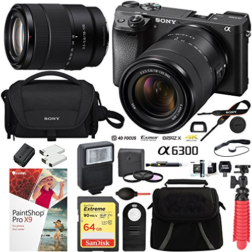Sony ILCE-6300M/B a6300 4K Mirrorless Camera (Black) with 18-135mm F3.5-5.6 OSS Zoom Lens and Case 64GB SDXC Memory Card Pro Photography Bundle (18-135 Single Lens Kit, Black)