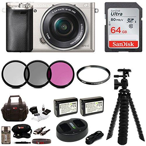Sony Alpha a6000 Mirrorless Camera w/16-50mm Lens & 64GB Accessory Bundle (Silver)