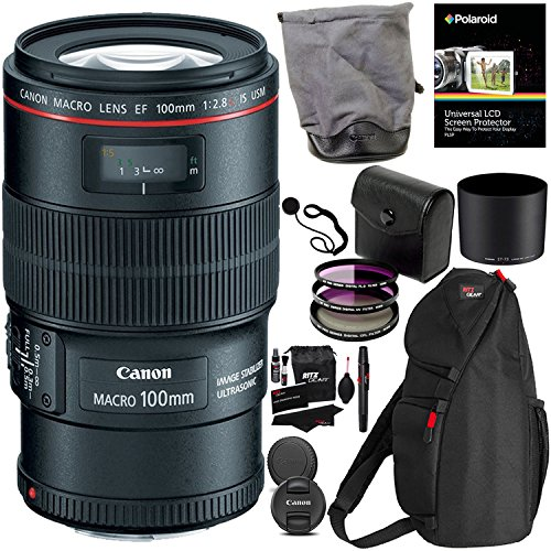 Canon EF 100mm f/2.8L IS USM Macro Lens for Canon Digital SLR Cameras, Polaroid 3 Piece 67mm Filter Kit (UV / CPL / FLD ) and Polaroid Accessory Kit