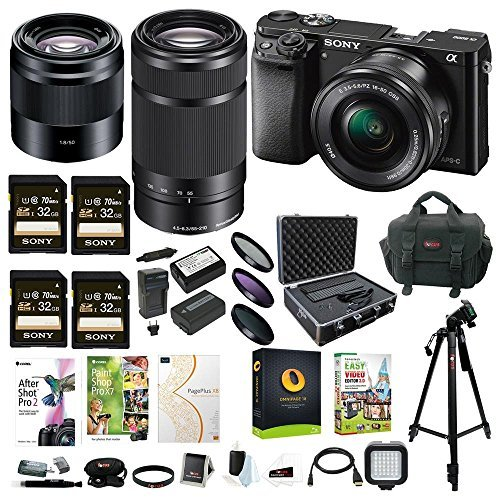 Sony Alpha a6000 Mirrorless Camera w/16-50mm & 55-210mm, 50mm 3 Lens Bundle + Four 32GB SD Card & more